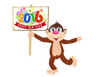 Happy New Year 2016 year of the monkey. Vector illustration design elements Stock Image