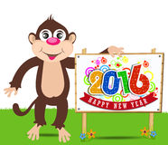 Happy New Year 2016 year of the monkey. Vector illustration design elements Royalty Free Stock Image