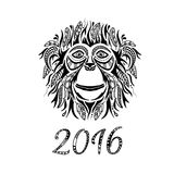 Happy new year 2016. Year Of The Monkey. Vector Illustration. Useful for design of a t-shirt, bag, postcard, poster, tattoo, packaging, interior decorating and royalty free illustration
