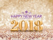 Happy new year 2018 year number  3d rendering  at sparkling go. Lden glitter studio background ,Holiday Greeting card Stock Photo