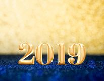 Happy new year 2019 year number 3d rendering at sparkling go royalty free illustration