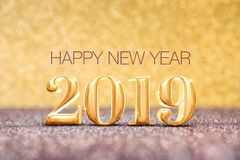Happy new year 2019 year number 3d rendering at sparkling go royalty free stock images