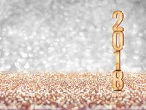 Happy new year 2018 year number  3d rendering  at sparkling go. Lden silver perspective glitter studio background ,Holiday Greeting card.Banner mock up space for Royalty Free Stock Photos