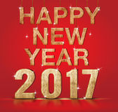 Happy New Year 2017 year number on red studio background,Holiday. Greeting card concept Stock Photos