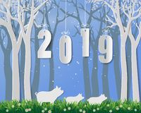 Happy new year 2019,year of pig on paper art and craft design. Vector illustration stock illustration