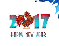 Happy New Year  2017 year of rooster with Beautiful colorful and bright polygon rooster. Royalty Free Stock Photography