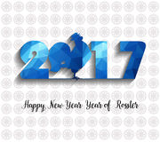Happy New Year  2017 year of rooster with Beautiful colorful and bright polygon rooster. Stock Photography