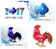 Happy New Year 2017 year of rooster collection Stock Photos