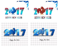 Happy New Year 2017 year of rooster collection. Happy New Year 2017 year of rooster with Beautiful colorful and bright polygon rooster Royalty Free Stock Photos