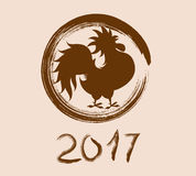 Happy New Year 2017 year of rooster. Vector Royalty Free Stock Photography