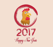 Happy New Year 2017 year of rooster. Vector Stock Photography