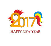 Happy New Year 2017 year of rooster. Vector Stock Image