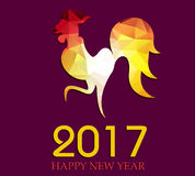 Happy New Year 2017 year of rooster. Vector Royalty Free Stock Photo