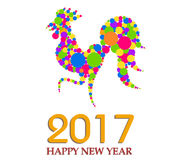 Happy New Year 2017 year of rooster. Vector Stock Photo