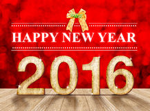 Happy New Year 2016 year wood number in perspective room with sp Royalty Free Stock Photos