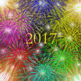 2017 happy new year. S card in colorful and stars Royalty Free Stock Photography