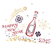 Happy New Year 2015. New Years Eve, champagne and Party time Stock Photos