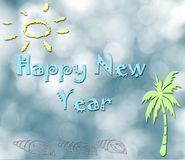 Happy New Year. On yellow background with a beach scene Royalty Free Stock Images