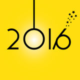 Happy New Year 2016 yellow background Stock Photography