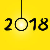 Happy New Year 2018 yellow background,  stock. Happy New Year 2018 yellow background, stock Royalty Free Stock Images