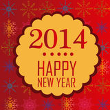 Happy new year 2014. A yellow banner with some red text for new year in a colored background with snowflakes stock illustration