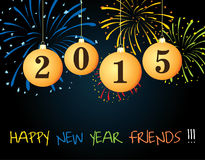 Happy New Year 2015. Yellow, Blue Green. Illustrator Background Designs Stock Photography