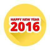 Happy new 2016 year yellow button with long shadow. Simple icon Stock Photo