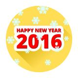 Happy new 2016 year yellow button with long shadow and snowflakes. On white Stock Photo