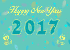 Happy New Year 2017 with yellow flowers. Happy New Year 2017. Calendar template. Blue hand drawn symbols with yellow decor. Celebration background with confetti Royalty Free Stock Images