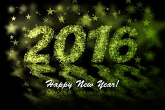 Happy New Year 2016. Yellow and green stars background with bokeh effect Royalty Free Stock Photo