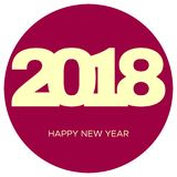 Happy New Year 2018 yellow label in dark pink circle. New Year and Xmas Design Element Template. Vector Illustration Stock Images