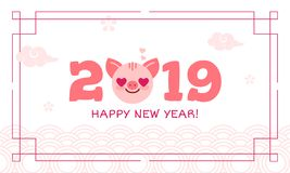 2019 Happy New Year zodiac pig sign character,asian traditional greeting card wish,Oriental asians korean japanese. Chinese style pattern decoration elements royalty free illustration