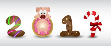 Happy New Year 2019 zodiac pig sign characters with cookie & donut. Cute cartoon , illustrator stock illustration
