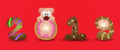 Happy New Year 2019 zodiac pig sign characters with simple background red color stock illustration