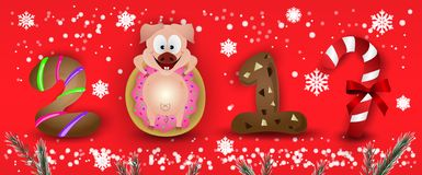 Happy New Year 2019 zodiac pig sign characters with snowflakes & fir royalty free illustration