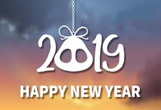 Happy New Year 2019. Zodiac sign. Year of the pig theme over sky. Happy New Year 2019. Zodiac sign. Year of the pig theme over sunset sky stock photos