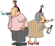 Happy new years. This illustration depicts a man and woman with noisemakers and party hats Royalty Free Stock Photo