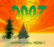 Happy new years. 2007. Christmas trees on sunset. Cover for album , CD and other Stock Photo