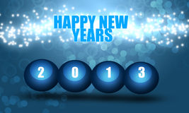 Happy New Years 2013. Happy new years, blue background with 2013 in 3D balls. Good use for banners backgrounds, and etc Stock Image