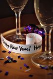 Happy new years. New years eve celebration with champagne and confetti stock photo