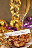 Happy new years. New years eve celebration with champagne and confetti stock images