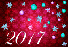 2017 Happy New Years. Abstract Christmas card with 3D stars and spheres on a pink background Royalty Free Stock Photos