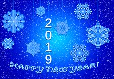 2019 Happy New Years Blue. Greeting card in blue with paper snowflakes and numbers 2019 stock illustration
