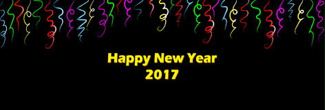 Happy New Years 2017 - Bright Colorful Ribbons. Celebrate New Years with bright colorful streamers. Red, yellow, blue and green ribbons create a festive banner Stock Photo
