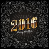 Happy New years Card 2016 holiday vintage design vector Royalty Free Stock Images
