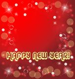 Happy new years card on red background. Design illustration stock illustration