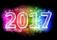 2017 Happy New Years. Card Happy New Year 2017 colorful Stock Photos