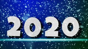 Happy New Years 2020 lovely lightweight design concept. Simple motion graphics. 2020 in the falling snow. 4k