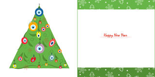Happy new years pine tree with eye bead and snowflake greeting card vector. Background Stock Photo