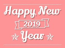 2019 HAPPY NEW YEARS PINK. Simple stock illustration